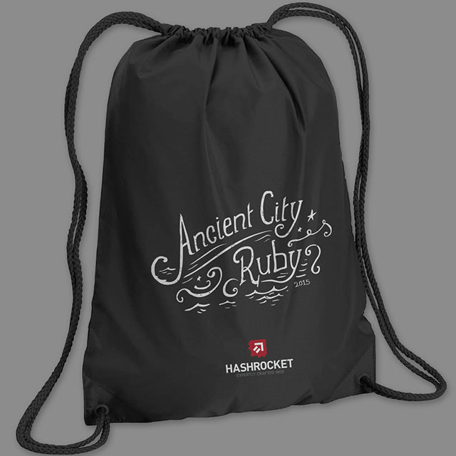 Ancient City Ruby custom lettering on drawstring bag