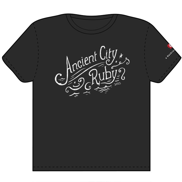 Ancient City Ruby custom lettering on t-shirt