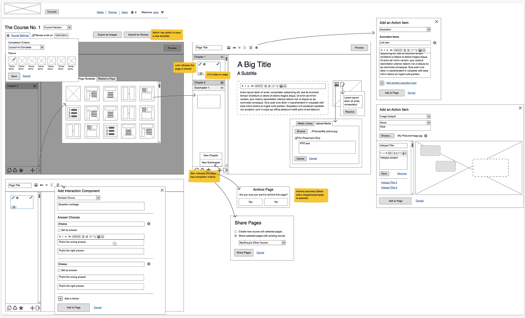 A Regions Bank course builder wireframe
